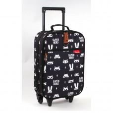 Trolley koffer Kidzroom Zwart met witte dieren